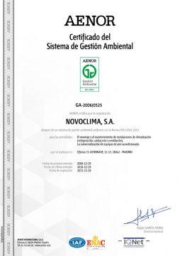CERTIFICADO GESTIÓN AMBIENTAL 14001:2015