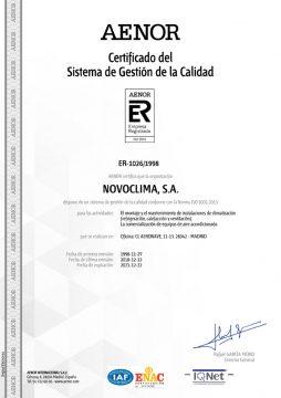 CERTIFICADO GESTIÓN DE LA CALIDAD 9001:2015