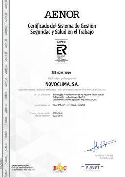 CERTIFICADO SISTEMA DE GESTIÓN DE SEGURIDAD Y SALUD EN EL TRABAJO 45001:2018